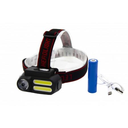 Ліхтар налобний BL-611-1LM+2COB, micro USB, 1x18650 оптом