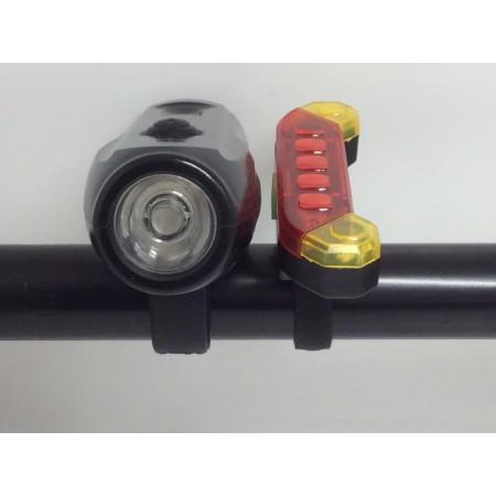 Велосипедный фонарь передний + задний стоп №0703 оптом