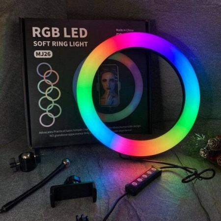 Кольцевая лампа LED RGB 26 см со штативом 210 см (№32) оптом